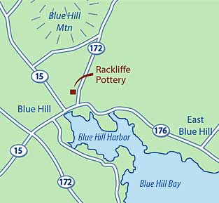 Locator of Rackliffe Pottery in Blue Hill, Maine